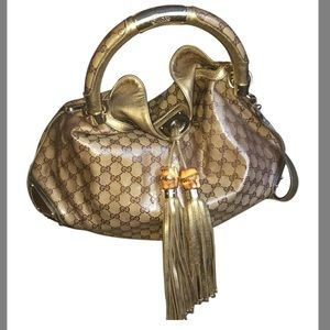 GUCCI Bamboo Indy Hobo Crystal Coated GG Logo Bag